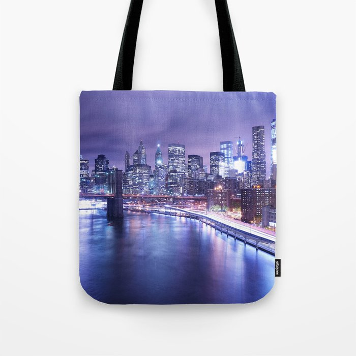 New York City Night Lights : Periwinkle Blue Tote Bag