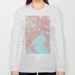 Vintage Map of Jacksonville Florida (1964) Long Sleeve T-shirt