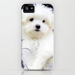 Lancelot the Maltese Puppy in Silver Sled with Red Christmas Poinsettia iPhone Case