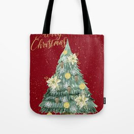Christmas Tree Merry Christmas Red Tote Bag