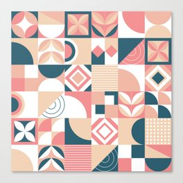 Lovely Geometric Shapes Abstract art in pastel and blue pattern Canvas Print