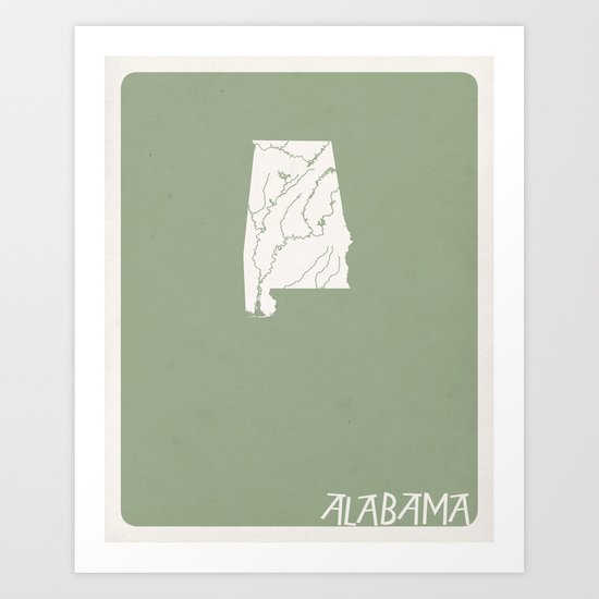 Alabama Minimalist Vintage Map Art Print