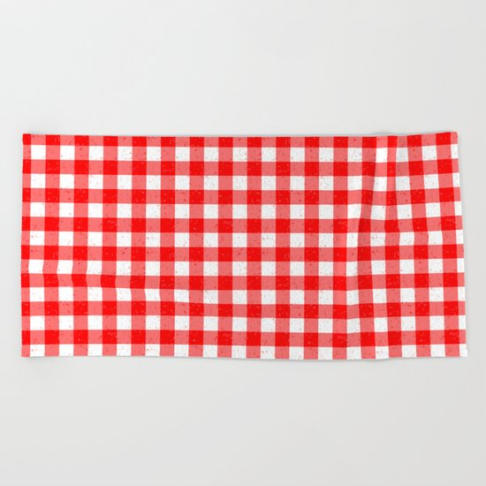 Gingham Red and White Pattern Beach Towel