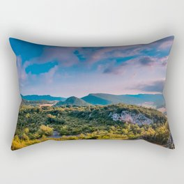 on the top of the mountain Rectangular Pillow