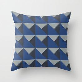 Blue + Gray Origami Geo Tile Throw Pillow