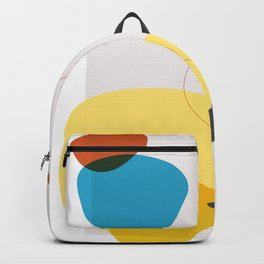 Shape & Hue Series No. 1 – Yellow, Orange & Blue Modern Abstract Backpack