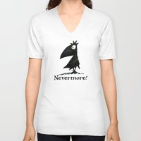 edgar allen poe V-neck T-shirts featuring Nevermore! The Raven - Edgar Allen Poe by Paul Stickland for StrangeStore