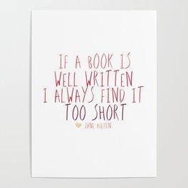 jane austen book quote Poster