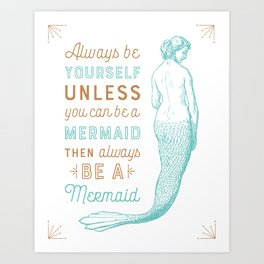 Vintage Mermaid Art Print
