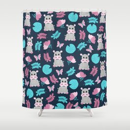 Cute Pink Teal Hippo Floral Butterfly Lily Pad Shower Curtain