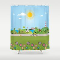 denmark Shower Curtains featuring Landscape of Denmark by Design4u Studio