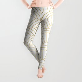 Gold and white geometric Art Deco pattern Leggings