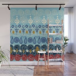lotus block blue Wall Mural
