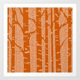 Birches (Orange) Art Print