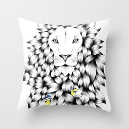 Beautiful Hand Drawn Lion Pointillism Illustration with Blue Tits Throw Pillow