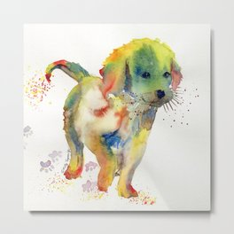 Colorful Puppy - Little Friend Metal Print