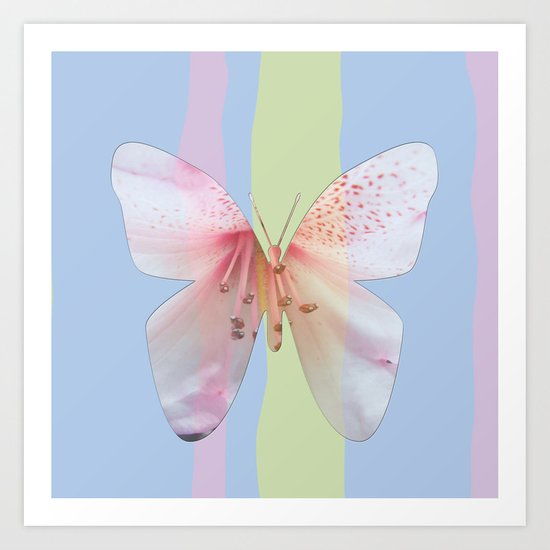 Butterfly pink azalea in pastel color stripes background. Floral botanical graphic art. Art Print
