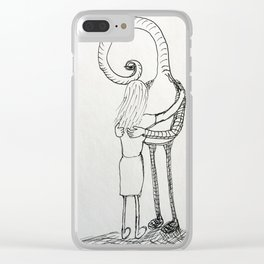 How to hug an alien Clear iPhone Case