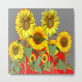 WESTERN STYLE  GREY-RED COLOR YELLOW SUNFLOWERS Metal Print