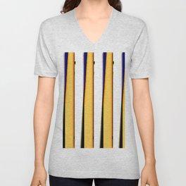 yellow blue white stripes Unisex V-Neck