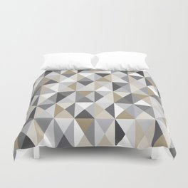 Stone Mid Century Modern Triangle Print Duvet Cover
