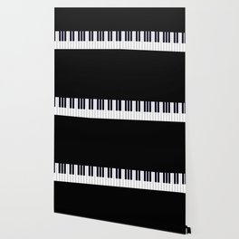 Piano Keys - Black and white simple piano keys pattern minimalistic music themed artwork Wallpaper