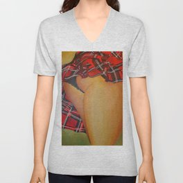 Young Girl Flirting Tease Me in Tartan Unisex V-Neck