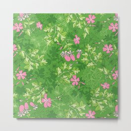 Forest Wildflowers / Green Background Metal Print