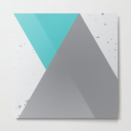 Triangle Grunge - Turquoise Metal Print