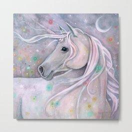 Twinkling Lights Unicorn Fantasy Watercolor Art by Molly Harrison Metal Print