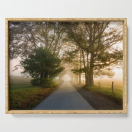 Daylight and Mist - Road with Warm Light in Great Smoky Mountains Serving Tray