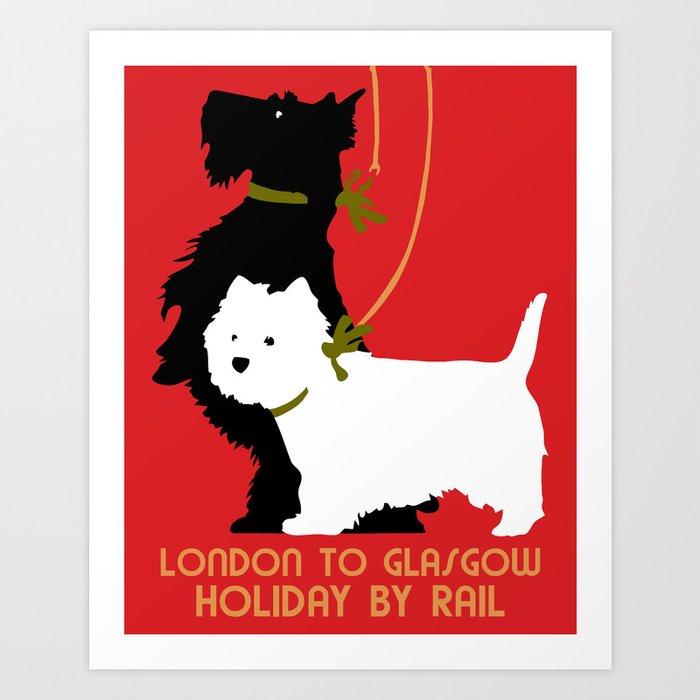 Retro London and Glasgow by train, dogs terriers Kunstdrucke