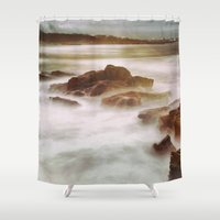 calm Shower Curtains featuring Calm by SpaceFrogDesigns