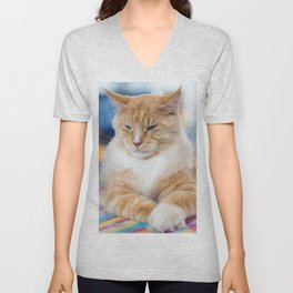 Red-white tabby Maine Coon cat Unisex V-Neck