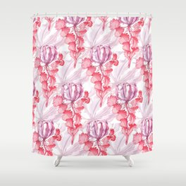 Vortex Floral Pattern from the Impossible Florals Series Shower Curtain