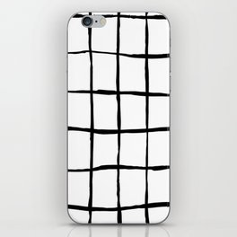 Black white hand drawn geometric abstract random stripes iPhone Skin