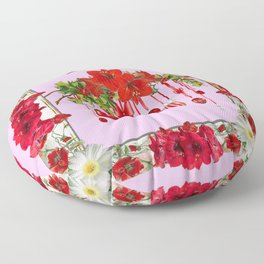 PEPPERMINT PINK RED AMARYLLIS FLOWERS & HOLIDAY ORNAMENTS Floor Pillow