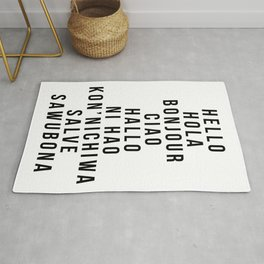 Hello In Multiple Languages - Hola Bonjour Ciao Halo Rug