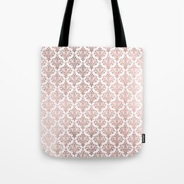 Elegant faux rose gold vintage floral damask Tote Bag