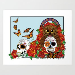 Day of the Dead Owl Art Print