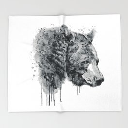 Bear Head Black and White Throw Blanket