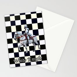 Knight on white horse with Chess board Stationery Cards