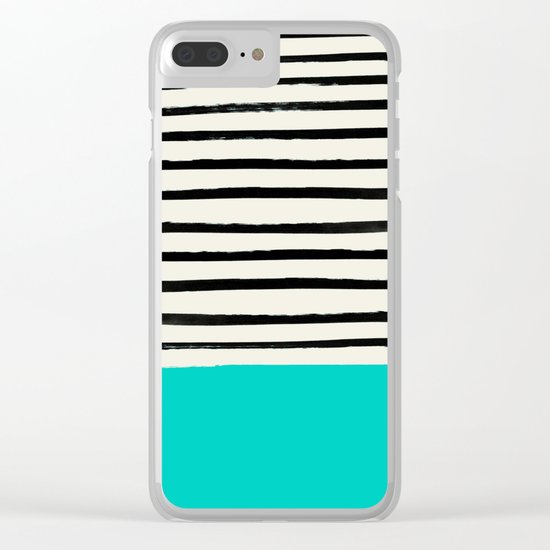 Aqua & Stripes Clear iPhone Case