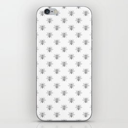 Vintage Honey Bees in Grey on White iPhone Skin