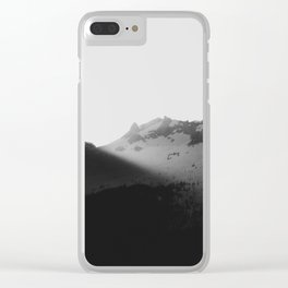 Sun rays over the mountains Clear iPhone Case