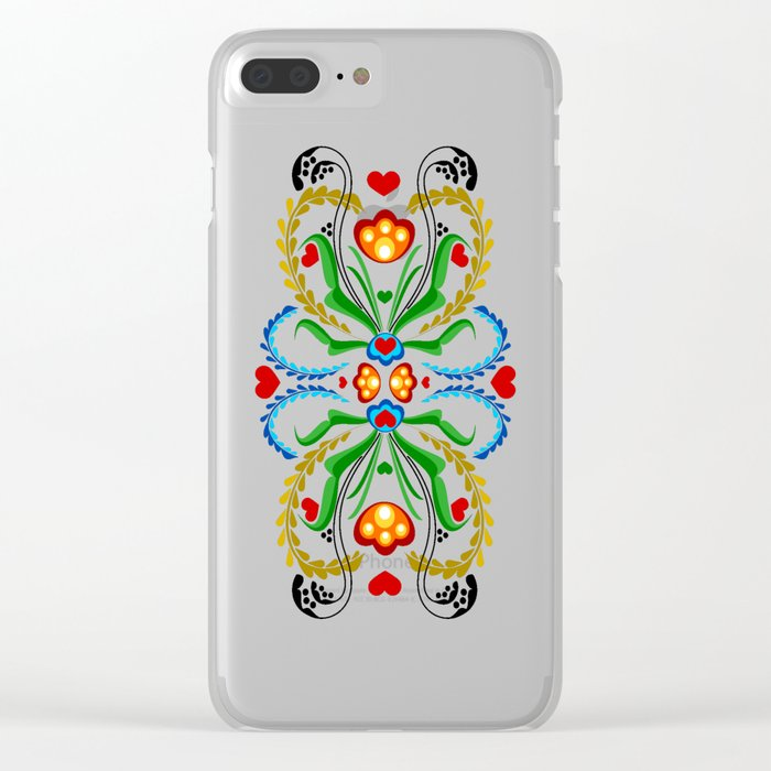Scandinavian Folk Art ~ Tulip Clear iPhone Case