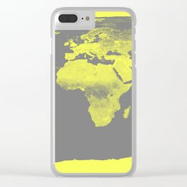world maP Lemon Yellow & Gray Clear iPhone Case