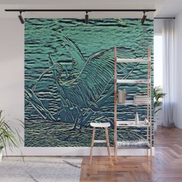 Japanese Bird Engraving Wall Mural