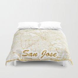 San Jose Map Gold Duvet Cover