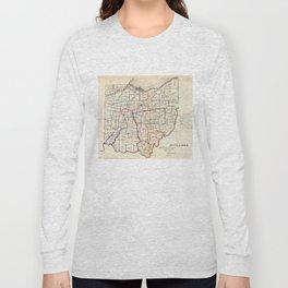 Vintage Map of Ohio (1866) Long Sleeve T-shirt